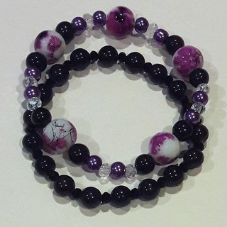 Set of 2 Purple Glass Beaded Bracelets