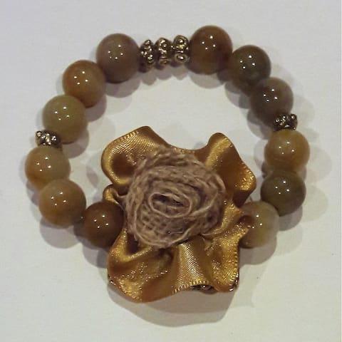 Brown Fabric Flower Beige Glass Beaded Bracelet