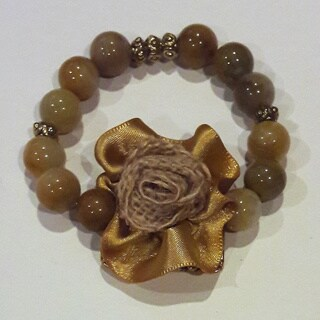 Brown Fabric Flower Beige Glass Beaded Bracelet