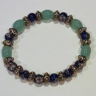 Blue-Green Cloisonne Beaded Bracelet