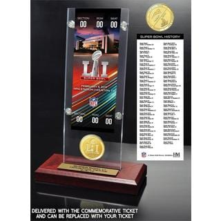 Super Bowl 51 Ticket & Bronze Flip Coin Acrylic Desktop