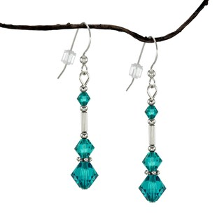 Handmade Jewelry by Dawn Long Teal Austrian Crystal Silver Glass Earrings (USA)