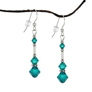 Handmade Jewelry by Dawn Long Teal Austrian Crystal Silver Glass Earrings