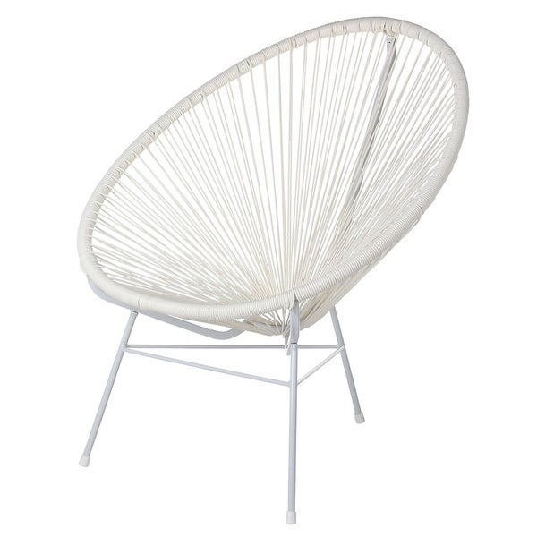 Handmade Acapulco Pure White Woven Lounge Chair. Opens flyout.