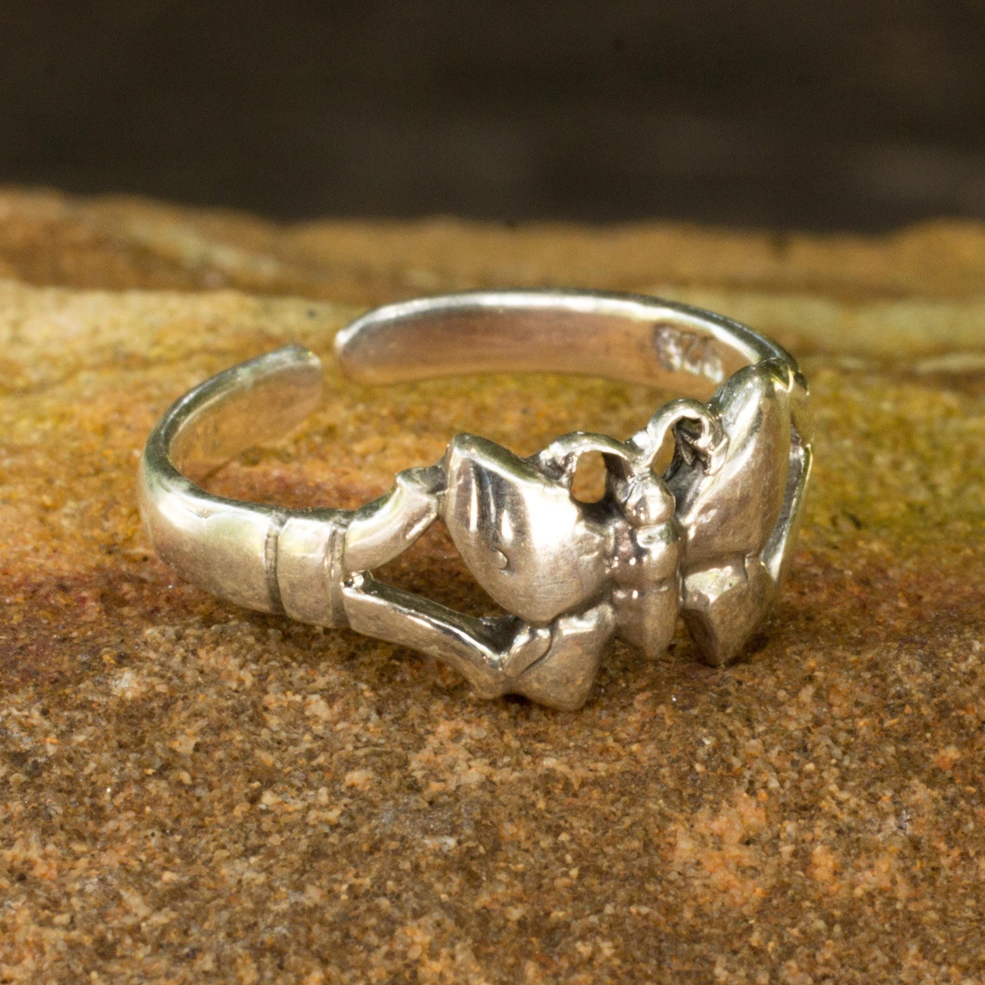 Sterling silver toe ring Butterfly design adjustable toe ring Also knuckle ring T27