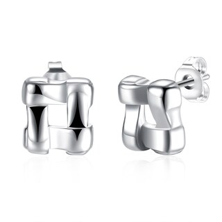 Hakbaho Jewelry Sterling Silverplated Cubed Stud CZ Earring