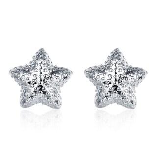Hakbaho Jewelry Sterling Silver Beaded Starfish Stud CZ Earrings