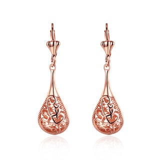 Hakbaho Jewelry Rose Gold Plated Laser-cut Dangle Earrings
