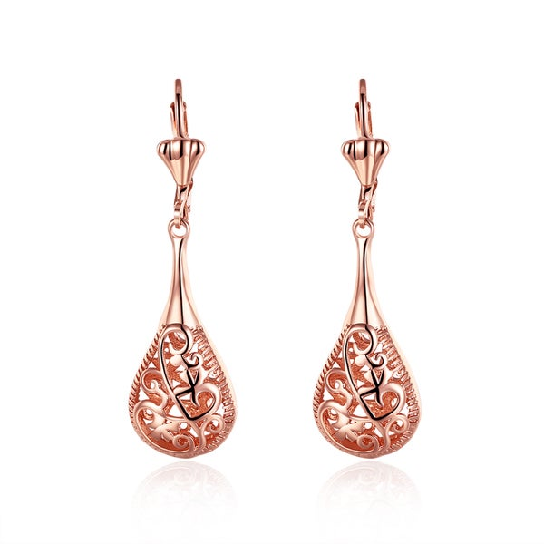 Hakbaho Jewelry Rose Gold Plated Laser-Cut Drop-Down Earrings
