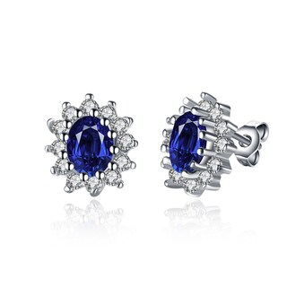 18k White Gold Over Brass Cubic Zirconia and Created Sapphire Gem Earrings
