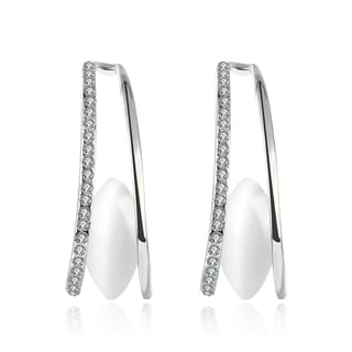 18k White Gold Swarovski Elements Doubled Lined Earrings
