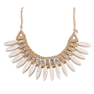 Lucite Gold Plated Marquise Bib CZ Necklace
