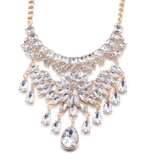 Lucite 18k Goldplated Crystals Bib Necklace