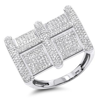 Luxurman 14k White Gold Men's 1 1/5ct TDW Genuine Diamond Ring (H-I; SI2-I1)