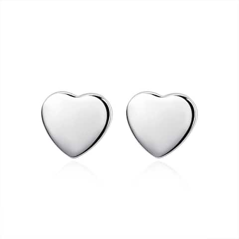 Hakbaho Jewelry Sterling Silver Clean-cut Heart-shaped Studs