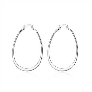 Sterling Silver Large Cut Hoop Earring
