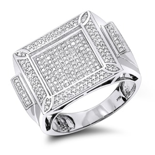 Luxurman 14k White Gold Men's Ring 1 1/2ct TDW Round cut Diamonds