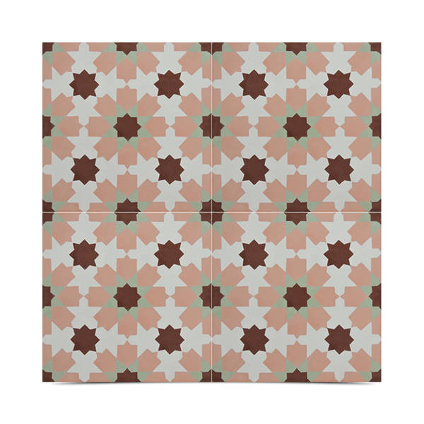 Ahfir Multicolor Handmade Moroccan 8 x 8 inch Cement and Granite Floor or Wall Tile (Case of 12)