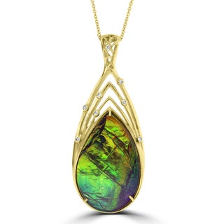 La Vita Vital 14k Yellow Gold Ammolite and 1/4ct TDW Diamond Necklace (G-H, SI1-SI2)