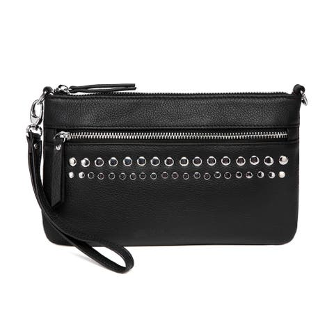 Vicenzo Leather Stacey Distressed Leather Crossbody/Clutch