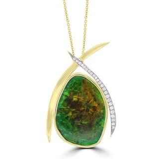 La Vita Vital 14k Yellow Gold Ammolite and 1/3ct TDW Diamond Necklace