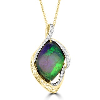 La Vita Vital 14k Yellow Gold 7 1/3ct TGW Ammolite and 1/4ct TDW Diamond Necklace (G-H, SI1-SI2)