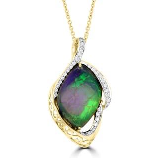La Vita Vital 14k Yellow Gold 7 1/3ct TGW Ammolite and 1/4ct TDW Diamond Necklace https://ak1.ostkcdn.com/images/products/14206329/P20800595.jpg?impolicy=medium