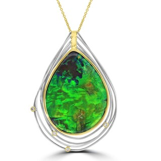 La Vita Vital 14k Two-tone Gold Ammolite and 1/10ct TDW Diamond Necklace