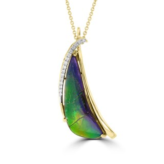 La Vita Vital 14k Yellow Gold Ammolite and Diamond Accent Necklace (G-H, SI1-SI2)