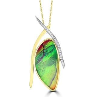 La Vita Vital 14k Yellow Gold 31ct TGW Ammolite and 1/4ct TDW Diamond Necklace (G-H, SI1-SI2)