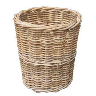 Round Wicker Trash Bin