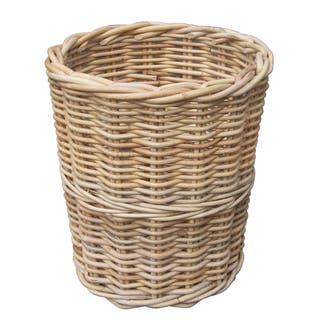 Round Wicker Trash Bin
