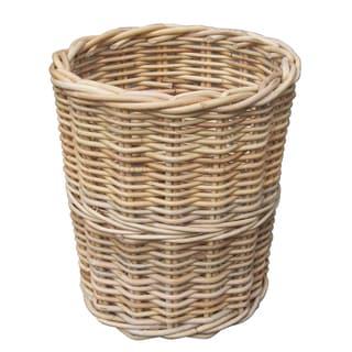 Charming Round Wicker Trash Bin