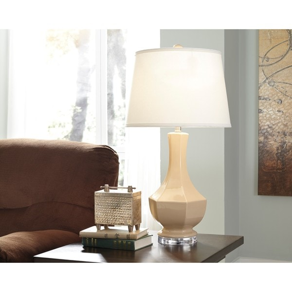 Signature Design by Ashley Suellen Beige Ceramic Table Lamp