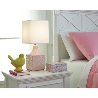Signature Design by Ashley Simmone Pink Ceramic Table Lamp
