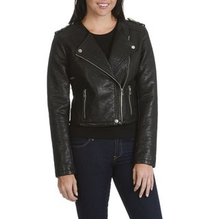 Ashley by 26 International Outerwear Junior Women's Black Faux-leather Moto Jacket