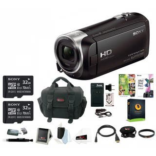 Sony HDR-CX405 1080p Full HD 60p Handycam Camcorder w/ Two 32GB SD Cards & Li-ion Battery Bundle|https://ak1.ostkcdn.com/images/products/14206409/P20800614.jpg?impolicy=medium