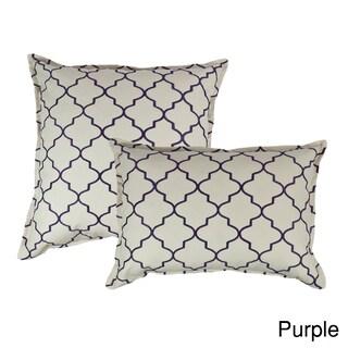 Sherry Kline Westbury Embroidered Reversible Combo Decorative Throw Pillow (Set of 2) (Option: Purple)