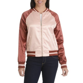 Ashley by 26 International Women's Downtown Collection Pink Junior Bomber Jacket