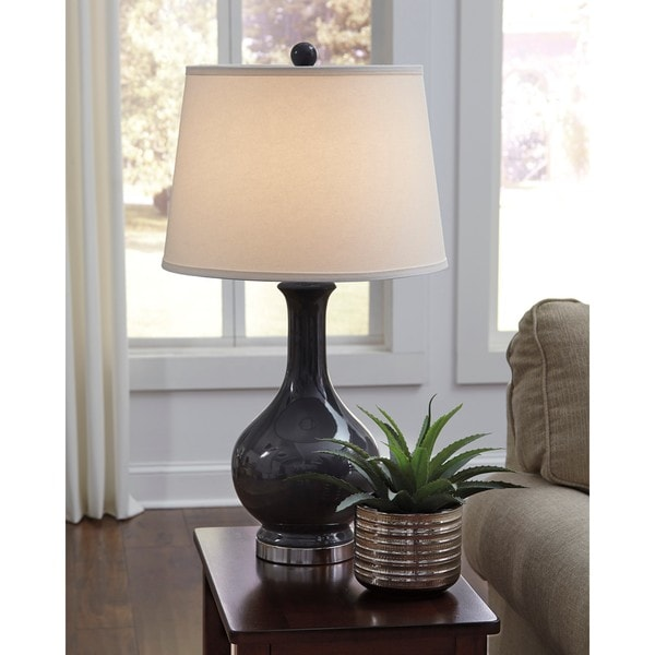 Signature Design by Ashley Shavonnia Gray Ceramic Table Lamp