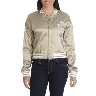 Ashley by 26 International Downtown Collection Women's Junior Floral Embroidery Bomber Jacket