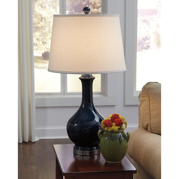 Signature Design by Ashley Shavonnia Blue Ceramic Table Lamp