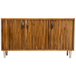 Wanderloot Topanga Sustainable Solid Mango Deco Sideboard with Dimensional Woodwork and 3 Doors