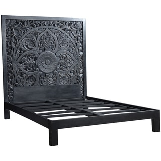 Wanderloot Bali Handmade Floral Medallion Black Painted Mango Queen Panel Bed (India)
