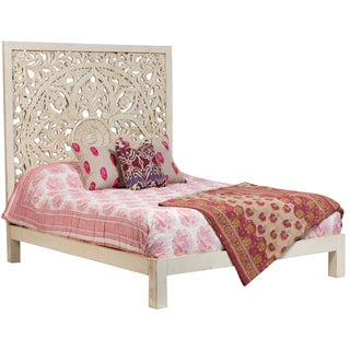 Wanderloot Bali Hand Carved Floral Medallion White Painted Mango Queen Panel Bed