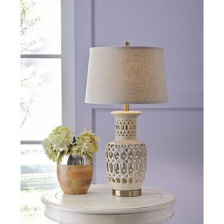 Signature Design by Ashley Jayme Cream Ceramic Table Lamp
