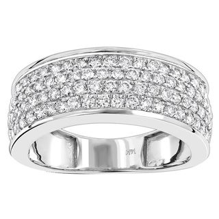 Luxurman 4 Row Men's 14k White Gold 1 3/5ct TDW Pave Diamond Wedding Band Anniversary Ring (H-I; SI1-SI2)