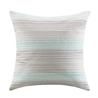 Madison Park Signature Cadence Teal/ Grey Cotton Square Throw Pillow with Embroidered