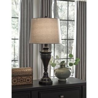 Signature Design by Ashley Darlita Bronze Finish Metal Table Lamp (Set of 2)