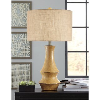 Signature Design by Ashley Jenci Antique Yellow Ceramic Table Lamp